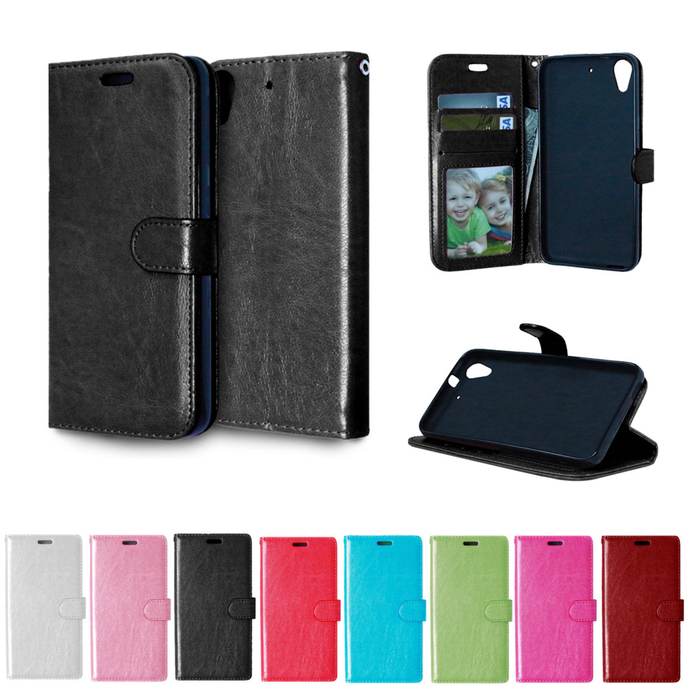 For HTC Desire 626 D626 HTC A32 Case Solid color Leather Cases Fashion Card Slot Stand Wallet Photo Frame Flip Phone Cover(China (Mainland))