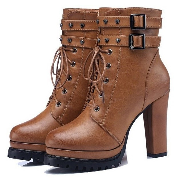 2015 new style autumn high heel platform boots women fashion thick heel lacu up faux leather ankle boots sexy lady martin boots <br><br>Aliexpress