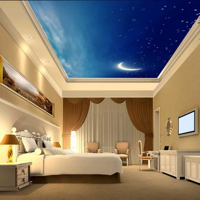 Hotel ceiling wallpaper 3D stereoscopic large mural living room bedroom  Starry sky Starlight ceiling KTV wall. Starry Bedroom