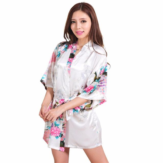 Новое поступление белый сексуальное миниое кимон юката платья китайский шелк район ...