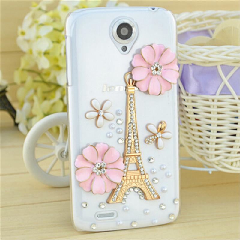 New 3D Eiffel Tower handmade bling Crystal Rhinestone diamond Mobile phone case hard back cover For Lenovo S650 Free shipping(China (Mainland))