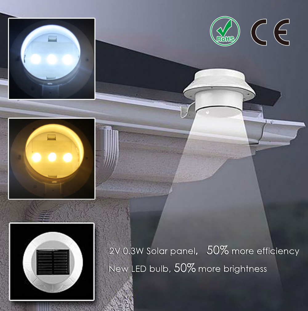 Solar Power 3 LED Fence Roof Gutter Light Outdoor Waterproof Garden Lamp(China (Mainland))
