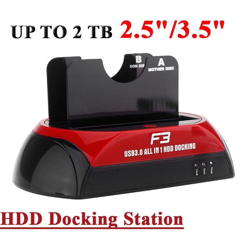 All in 1 HDD Docking Dual Double 2.5''/3.5''SATA 70MB/S Cloning 5GB/s Data Transfer Speed USB 3 Dock Station US Plug 2TB Externo(China (Mainland))