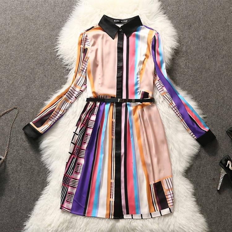 2015 spring summer new women's lapel long sleeve turn collar strip geometry print shirt dress - Chic Classic Store store