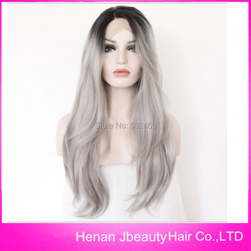 Hot Selling 1b/gray color lace front wig Ombre Two Tone color 1b/grey heat resistant synthetic lace front wig,free shipping(China (Mainland))