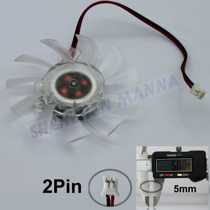 3PCS/LOT 2 pin Computer PC VGA Video Card Heatsink Cooler Cooling Transparent Fan FS011(China (Mainland))