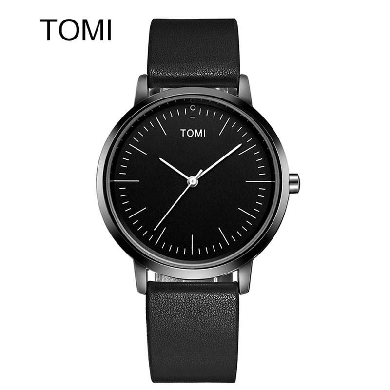 Men's Watches TOMI New Brand Luxury Casual Quartz Sports Wristwatch Ladies Leather Strap Male Clock Ultra Thin Dial Watch Women
