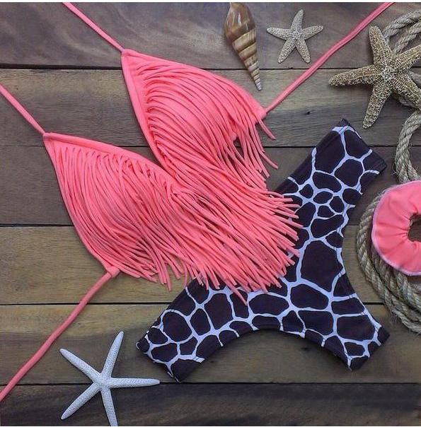 D22 H39 BZ 2016 new Leopard print pink Tassels micro bikinis women swimwear push up brazilian