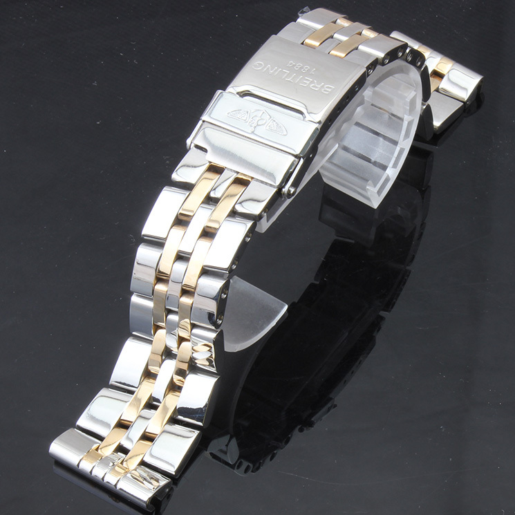Colour (Silver and Gold)Stainless Steel Watch  Strap Straight End 24mm NEW High Quality BANDS  Folding Clasp  Mechanical strap<br><br>Aliexpress