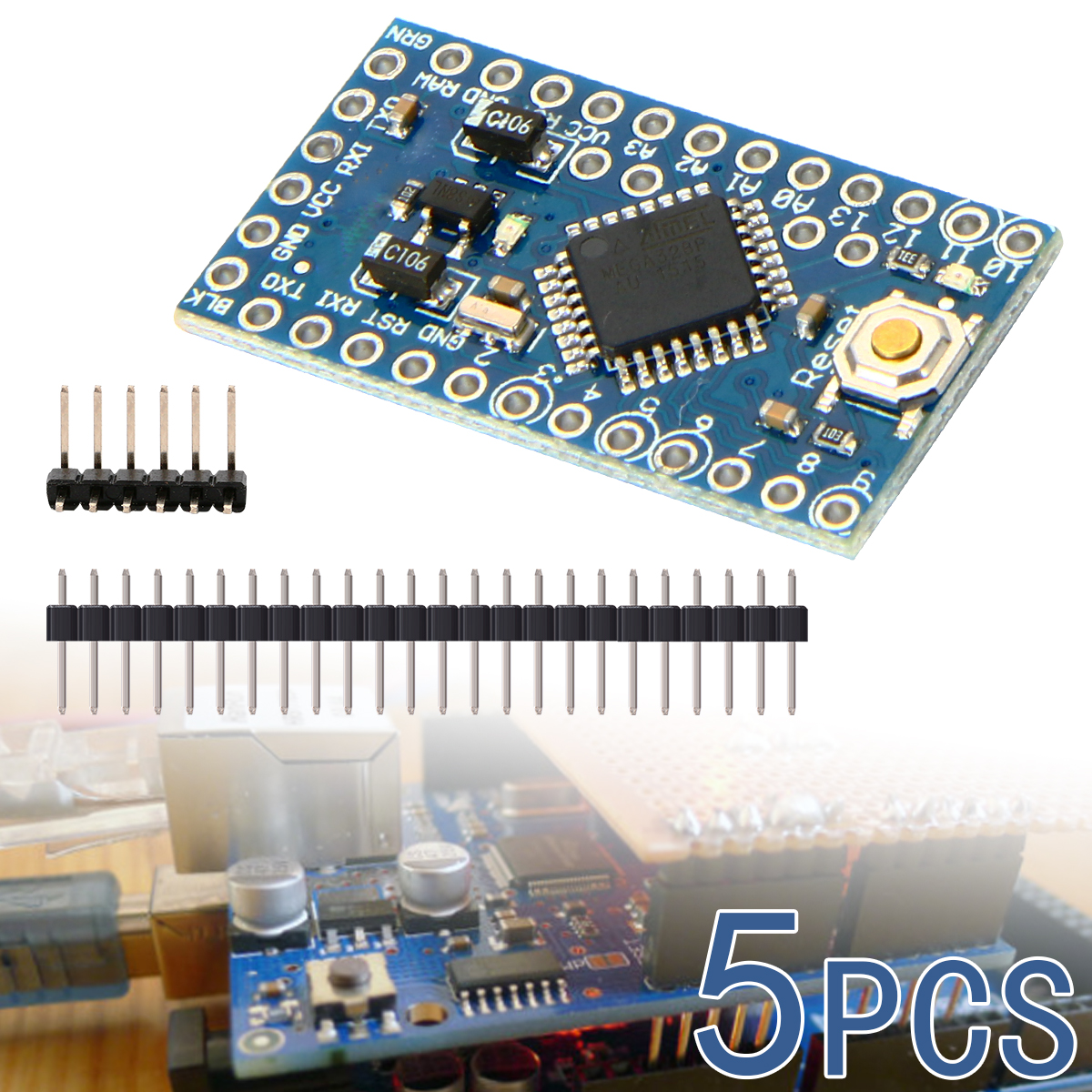 5pc Pro Mini Atmega328P 16MHz Development Board with Header Pin Compatible for Arduino TE362(China (Mainland))