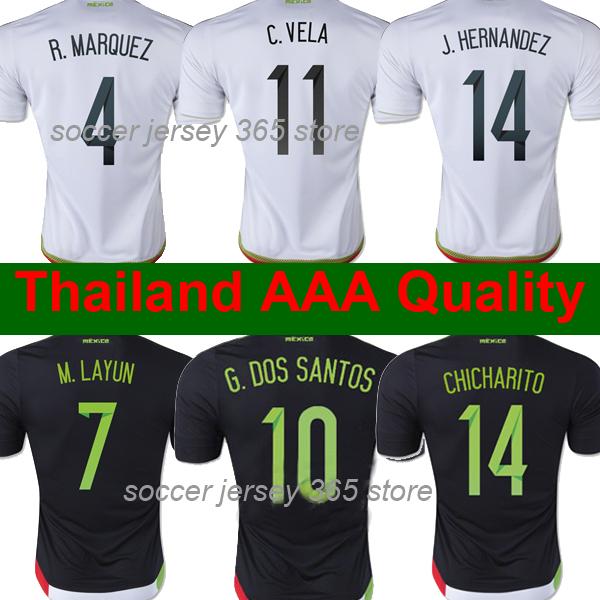Thai AAA Grade CHICHARITO Mexico jersey 2015 g.dos santos m.layun Mexico soccer jersey 15 16 c.vela Mexico football soccer shirt(China (M