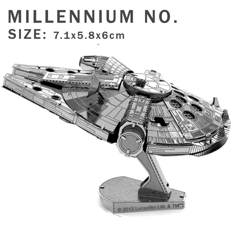 New creative Star Wars 3D puzzles 3D metal model DIY Starship Millennium No. Jigsaws Adult/Children gifts toys Real details(China (Mainland))