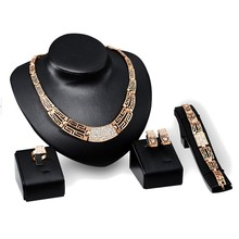 2015 New Crystal Jewelry Set 18K Gold Plated Fashion Party Rhinestone Necklace Earring Sets Bangle Ring Accessories Hot Sale(China (Mainland))