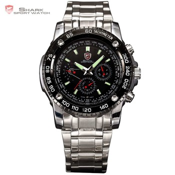 SHARK 6 Hands Day Date Display Calendar Stainless Full Steel Black Silver Luminous Wrap Wrist Men's Sports Quartz Watch / SH015