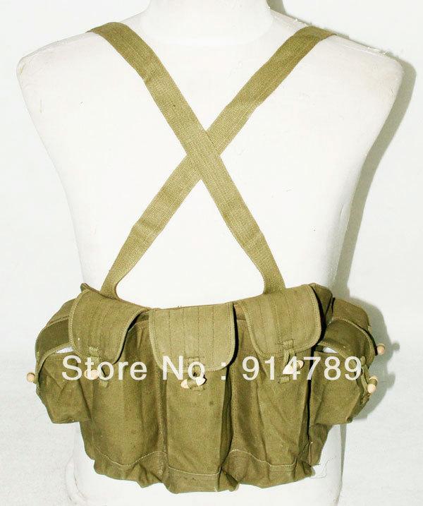 ORIGINAL VIETNAM WAR CHINESE TYPE 56 AK CHEST RIG AMMO POUCH-31144(China (Mainland))