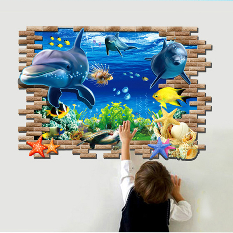 The new 3D stickers the Underwater world cartoon wallpaper children bedroom & sofa background wall stickers Waterproof removable(China (Mainland))