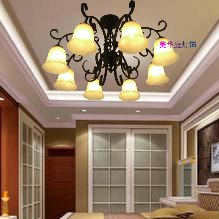 Special Bargain ceiling lamp bedroom living room European-style restaurant lights black wrought iron antique lamps(China (Mainland))