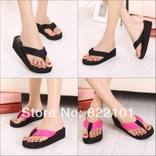 New Summer fashion casual women's slippers Flip Flops wedges Sandals size 35-40 Black Red Pink beach slipper