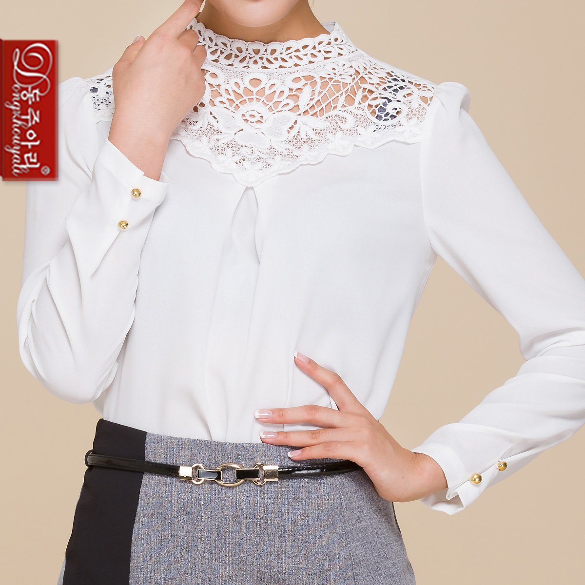 sale frees hipping plus size lady long-sleeve shirts women fahionable elegant formal white lace collar turtleneck - Fashion and Romantic Store store