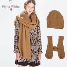 2015 autumn and winter new European Z home the same paragraph wool scarves shawl hat gloves three-piece suite wholesale(China (Mainland))