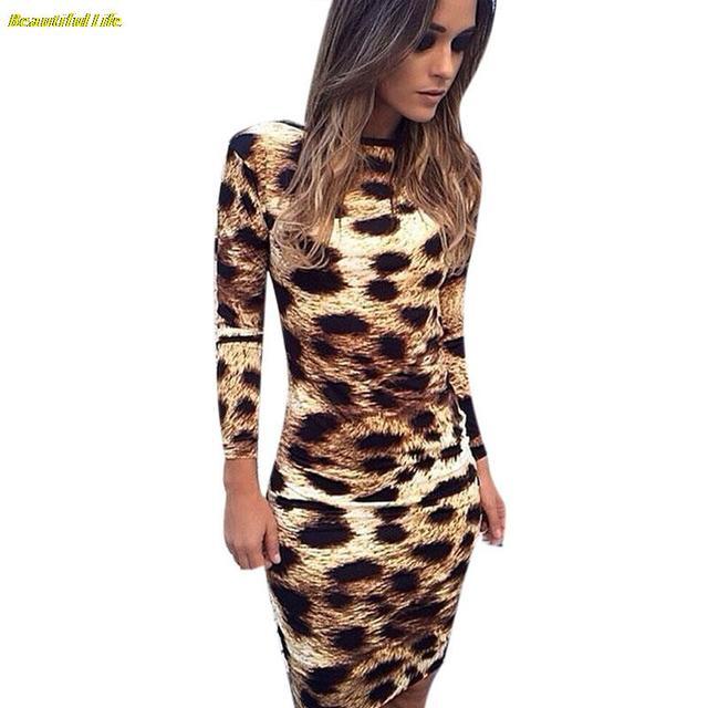 Vestidos сексуальное платье клуба 2015 с длинным рукавом осень зима платье женщины свободного покроя колен спинки Bodycon леопарда роковой