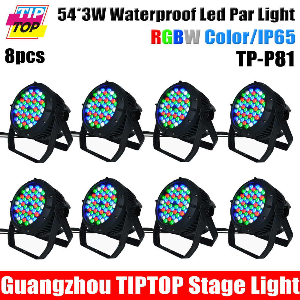 Cheap Price 8XLOT LED PAR Can (Waterproof, IP 65) / LED Stage Light Wash Washer Light RGBW 54pcs 3Watt Color changing 110V-240V(China (Mainland))