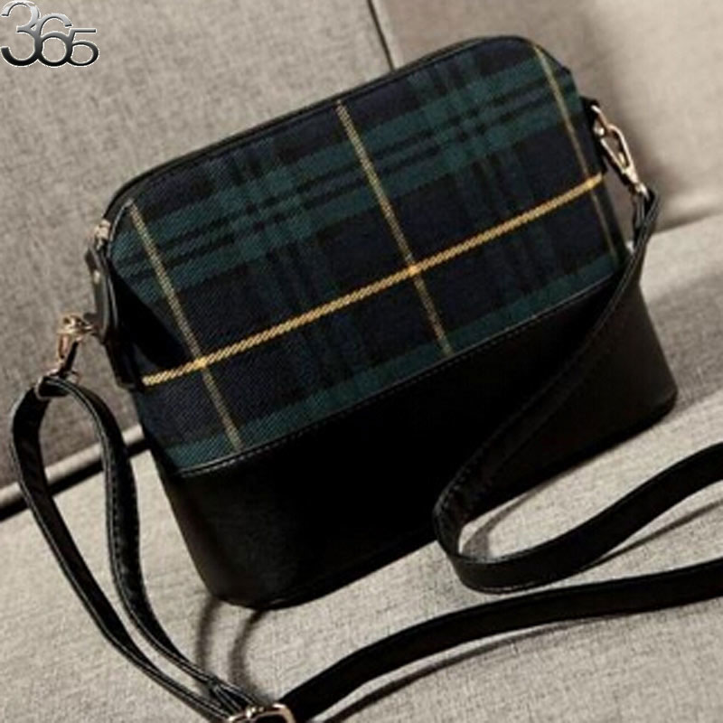 FREE SHIPPING Vintage Red Green Small Women Messenger Shoulder Satchels Plaid Grid Leather Party Shell Bag(China (Mainland))