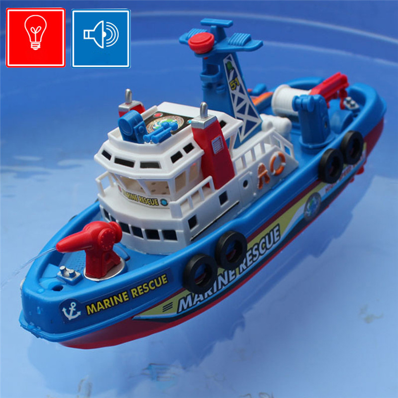 2016 Free shipping Fire Boat Electric Boat Children Electric Toy Navigation Non-remote Warship with Water Sailing(China (Mainland))