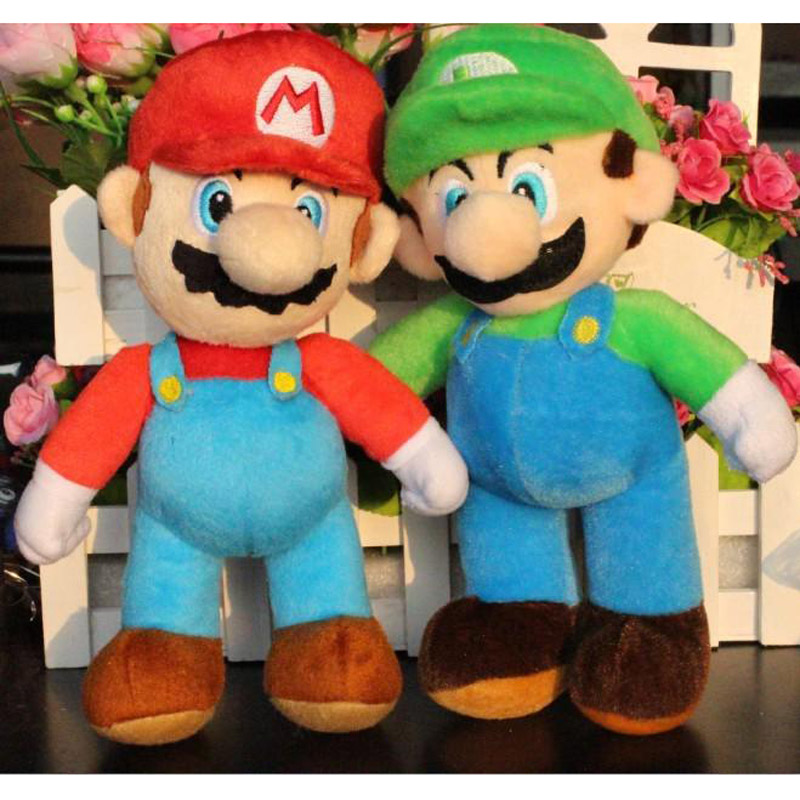 "New Hot sale super peluches mario bros plush 25cm=10"" soft toys MARIO & LUIGI pelucia stuffed doll toy cartoon gift for children(China (Mainland))"