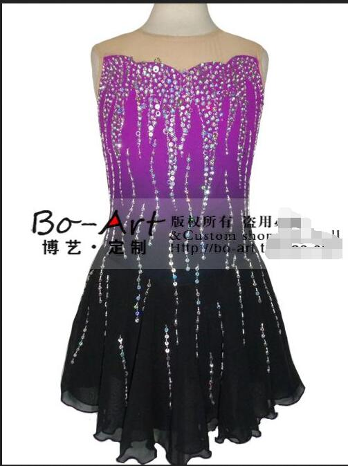 women competition skating dresses girls custom ice skating clothing figure skating suits free shipping(China (Mainland))
