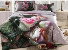 100% COTTON duvet cover set with high quality reactive printing(1pcs duvet cover 1pcs bedding sheet 2pcs pillow case) queen(China (Mainland))