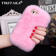 Buy Fashion Luxury Fluffy Winter Soft Wool Rabbit Hair Cover Iphone 5 5s SE 6 6s 7 Plus Fur Plush Bling Diamond Bow elegant Case for $4.09 in AliExpress store