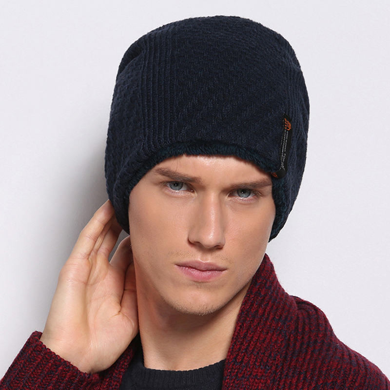 Winter warm knitted hat male hat knitted hat winter plus velvet toe cap covering cap pocket ear hat male wool knit warm beanies(China (Mainland))