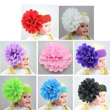 Free Shipping Fashion Children Kids Toddlers Infants Newborn Baby Girls Big Flower Headbands HairBand Headwear Wear Accessories