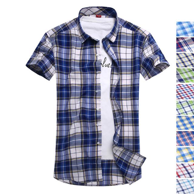 Летом хлопок короткий рукав рубашки британский стиль slim fit рубашки мужчины классический ...