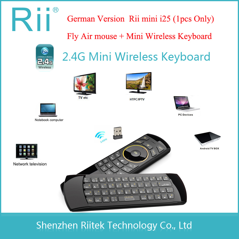 Fly Air Mouse Rii mini i25 2.4Ghz Wireless Keyboard Remote Control Qwerty teclado sem fio mouse for Android TV Box PC HTPC IPTV(China (Mainland))
