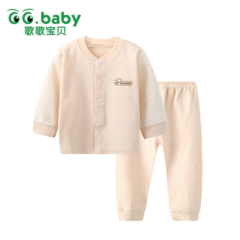 2016 Newborn Baby Boy Clothes Sets Long Sleeve Sleeping Clothes Infant Girl Clothes Spring And Fall Natural Color Cotton Fabric(China (Mainland))