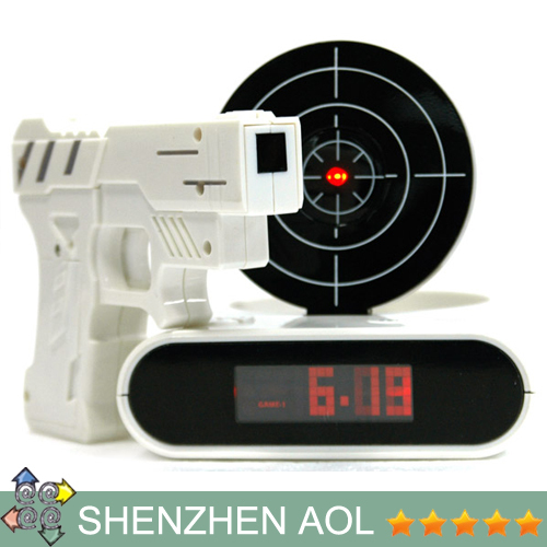 Gun o'clock, alarm clock with light target,essential condition with white collar sleepyhead,shooting Christmas gift 10pcs/lot(China (Mainland))