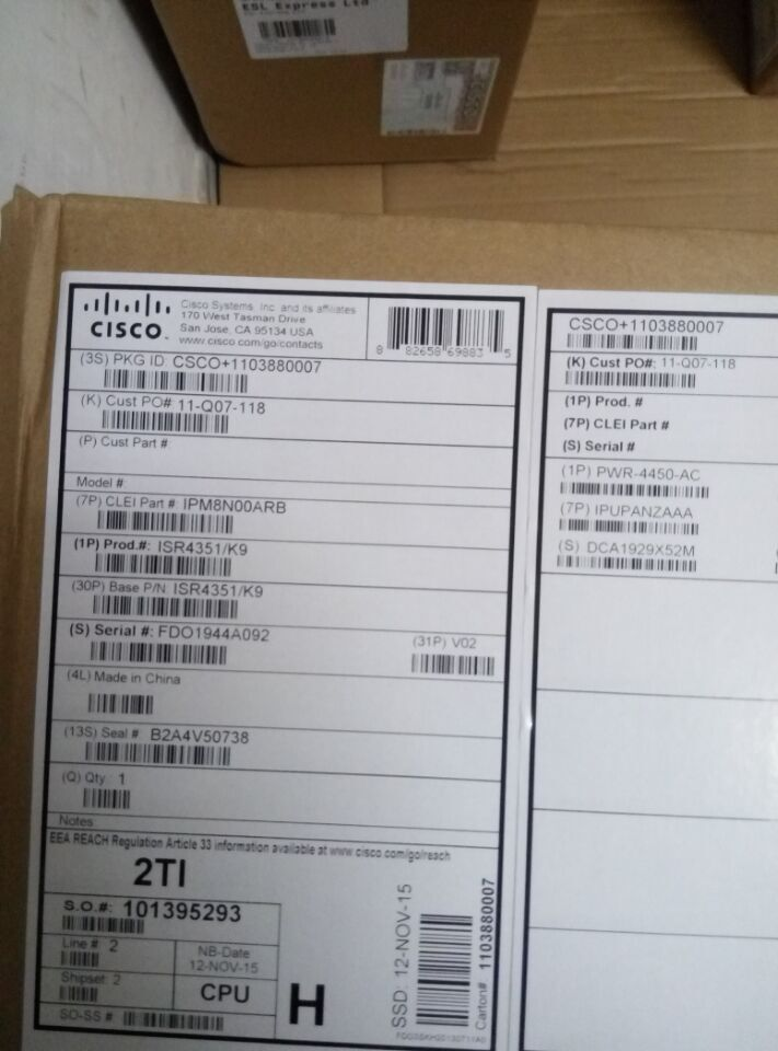 NEW CISCO ISR4351/K9 Cisco ISR 4351 (3GE,3NIM,2SM,4G FLASH,4G DRAM,IPB)(China (Mainland))