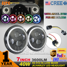 "7"" LED Headlight With Angle Eye For Hi-lo Beam"