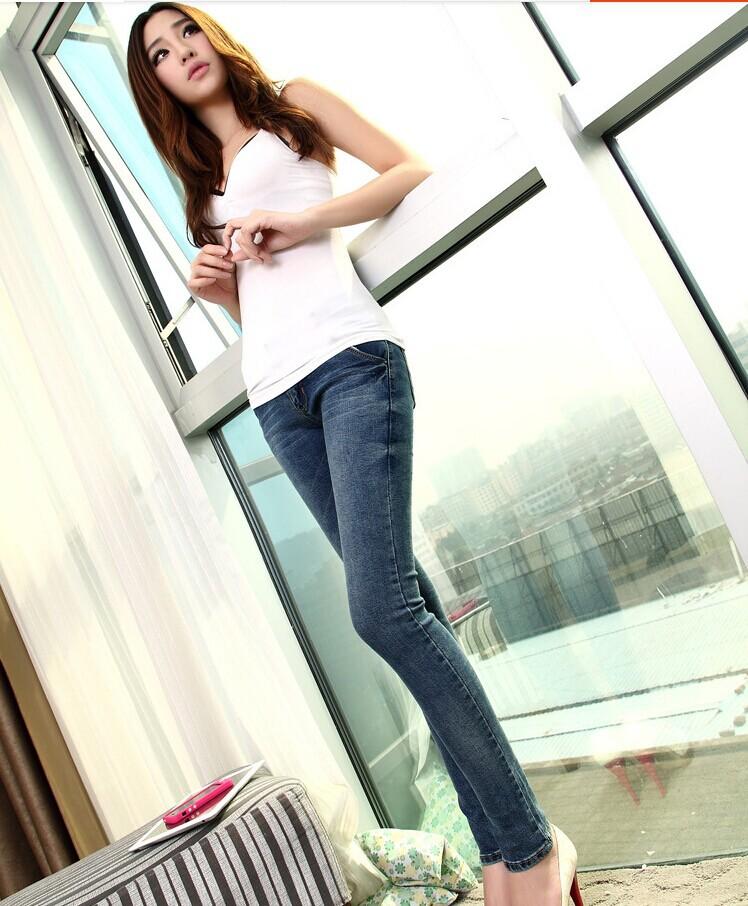 Female skinny jeans slim pencil elastic pants plus size trousers women's pants(China (Mainland))