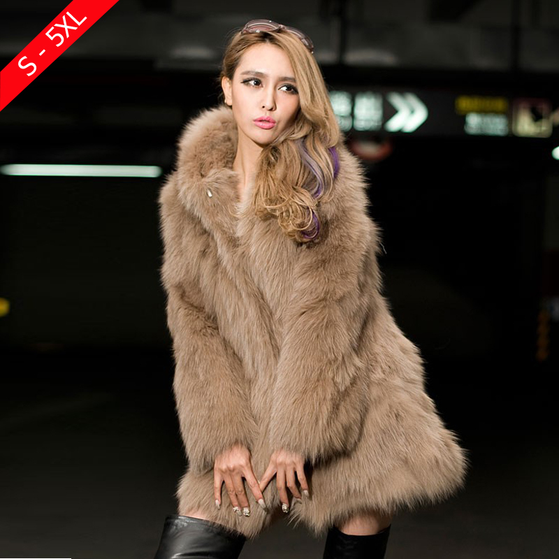 Long Fake Fur Coat With Hood - Tradingbasis