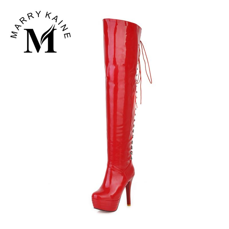 Fashion Women Shoes Over the Knee High Long Boots Sexy High Heels Red Bottom Boots Round Toe Platform Patent PU Shoes Woman