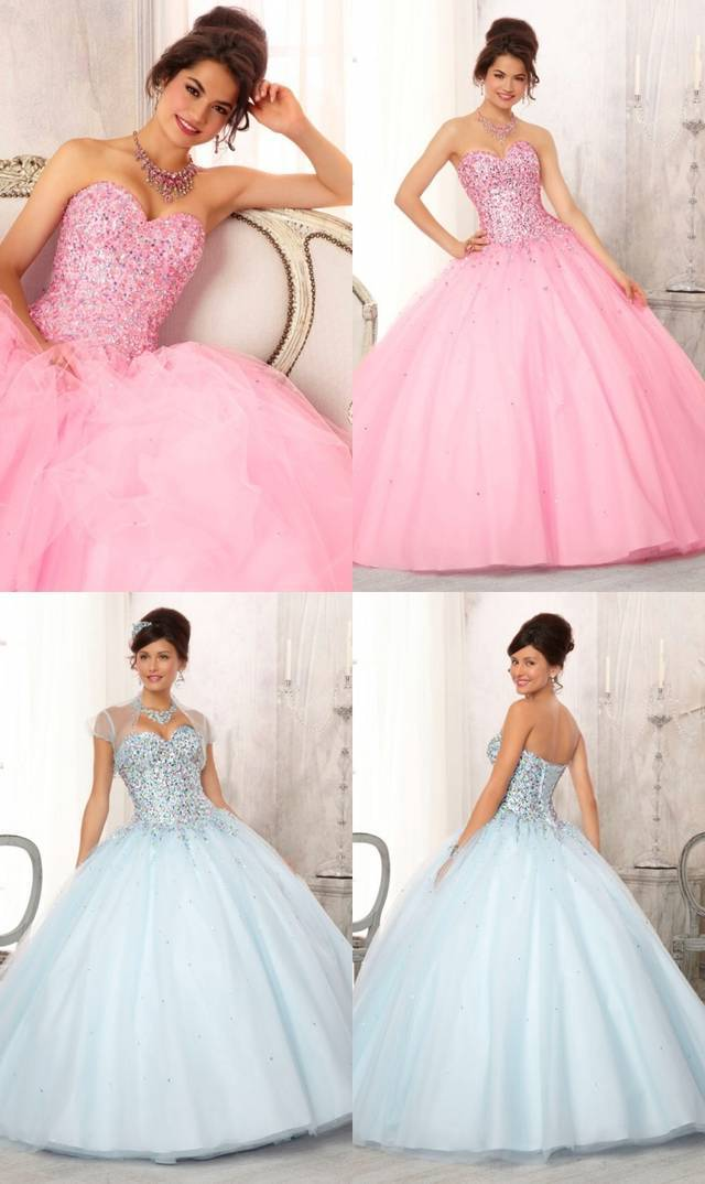 Quinceanera Dresses 2015 Crystal Sweetheart Neck Sleeveless Ball Gown Floor Length Custom Organza Dress Jacket - glamorous lady2015 store