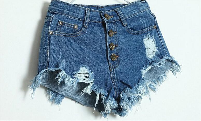 2015 summer style Women's Vintage High Waist Jeans fashion women hole short regular solid color denim shorts good quality,s-xl(China (Mainland))
