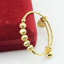 DIA.40mm-45mm Baby Kids Gold Filled Plated Bangles Adjustable Size Carve Ball Beads Hand Bracelets Gift(China (Mainland))