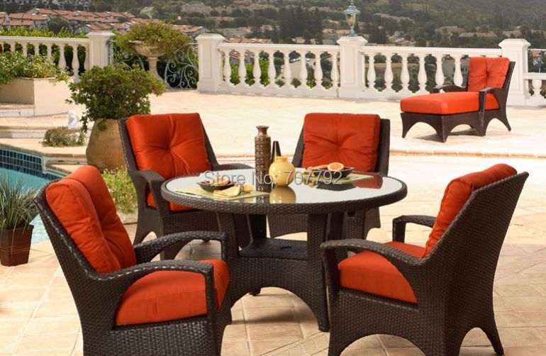 Newest Design 2015 Outdoor Garden 4 Seater Wicker Luxury Dining Table And Cha