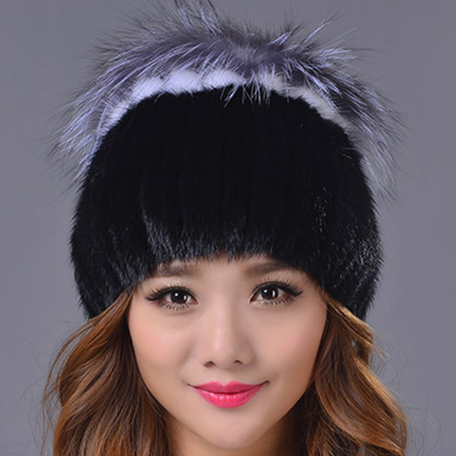 Фотография Genuine Mink Fur Female Cap with Fur Ball Pom Poms High Quality Knitted Skullies & Beanies Real Mink Fur Hat for Women