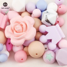 Buy Let's Make Silicone Random Beads 100pc Teething Montessori Toys DIY Crafts Baby Silicone Teether Nursing Necklace Pendant Beads for $16.90 in AliExpress store