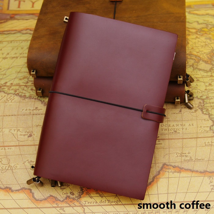 A5 & A6 simple cowhide leather notebook notepad cut travel diary 0920(China (Mainland))
